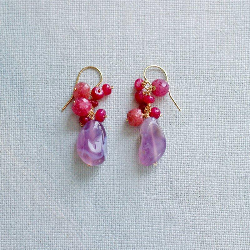 fusa : Ruby & Chalcedony(earring)