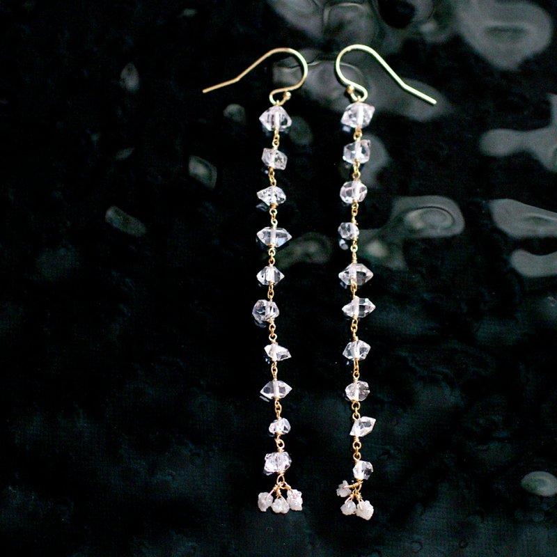 小さな実:Herkimer Crystal , Stardust 1(earring)