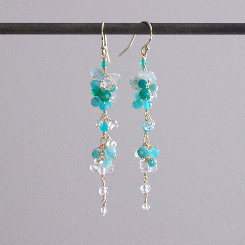 yamabudo : Amazonite&Crystal(earring)