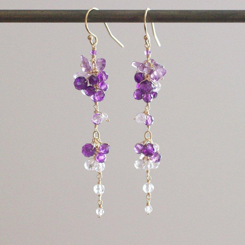 yamabudo : Amethyst&Crystal(earring)