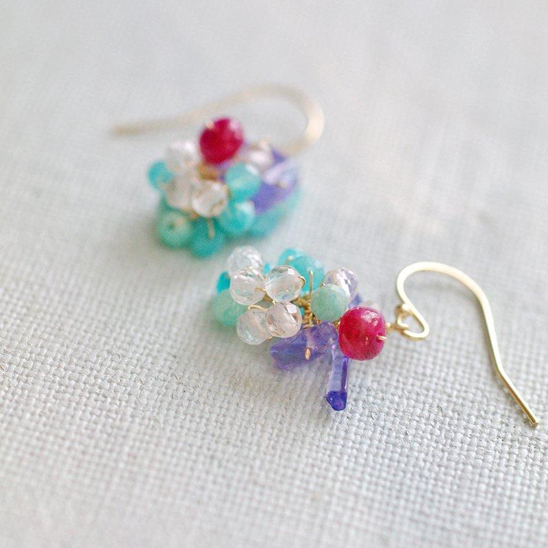 yamabudo : Ruby&Amazonite Tama(earring)