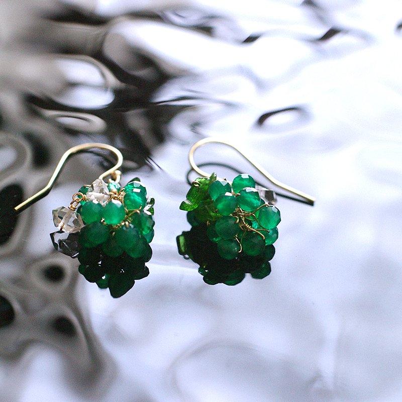 yamabudo : GreenOnix&Harkimer Tama(earring)