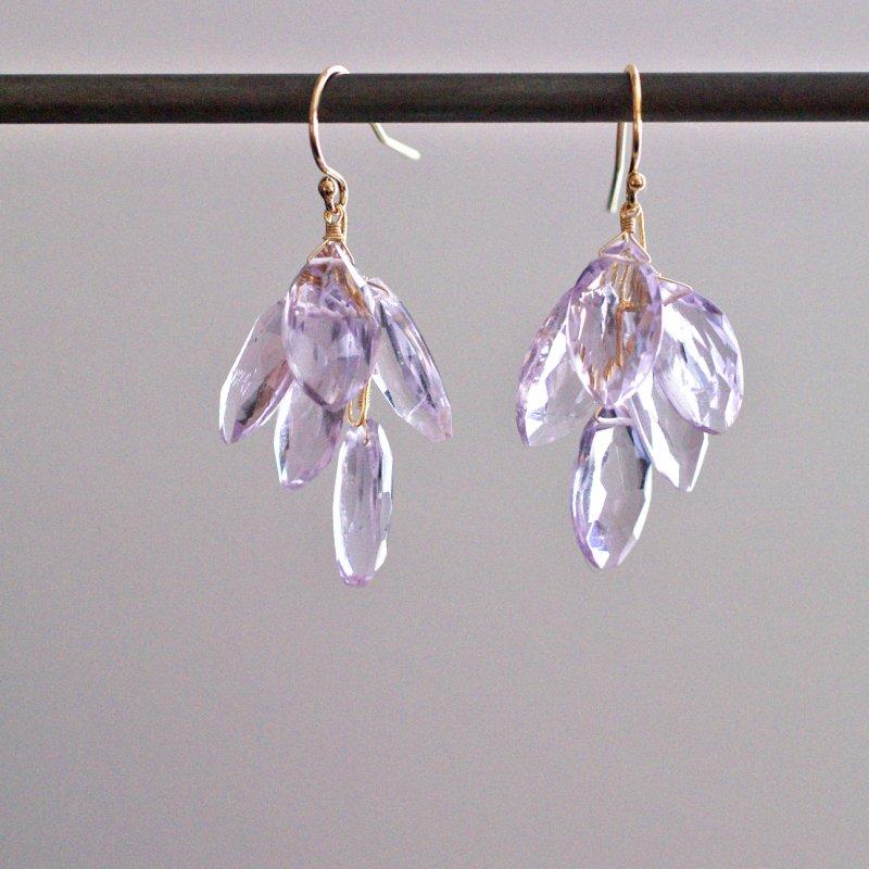 fusa : Leaf / pink Amethyst(earring)