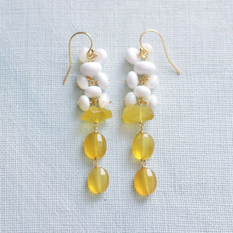 fusa : yellow & white(earring)