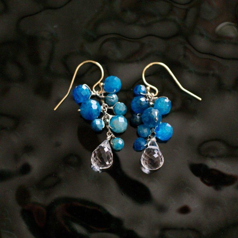 yamabudo : blue & crystal(earring)