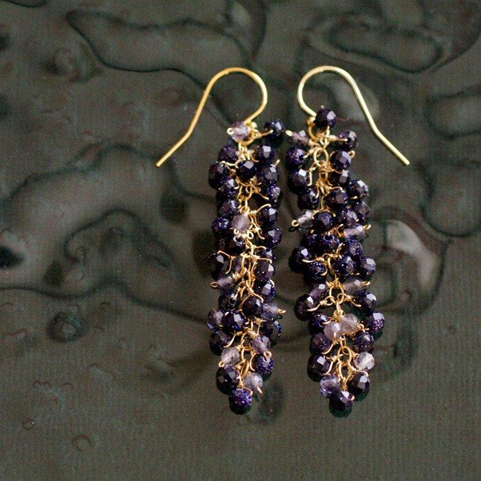 yamabudo : BlueSandStone , Iolite(earring)