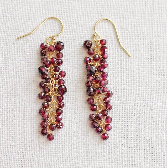 yamabudo : Garnet(earring)