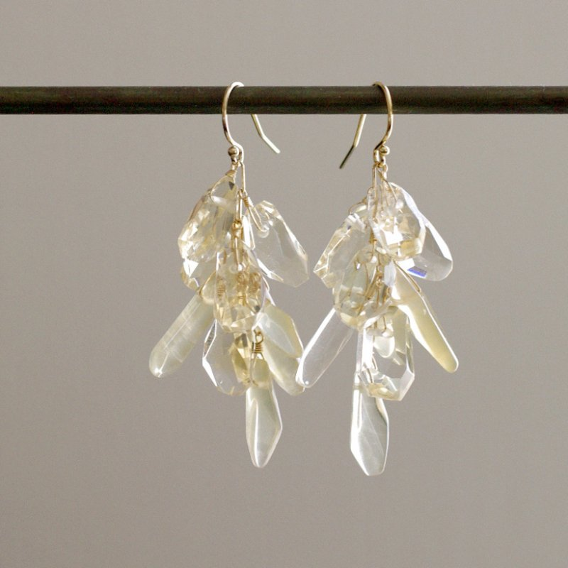 fusa : Citrine & YellowQuartz _l(earring)