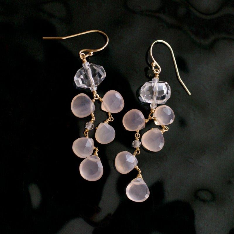 fusa : pinkChalcedony , Crystal(earring)