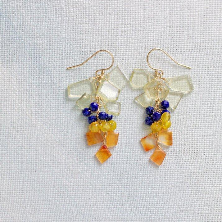 短冊 : Lemon Quartz, navy & orange(earring)