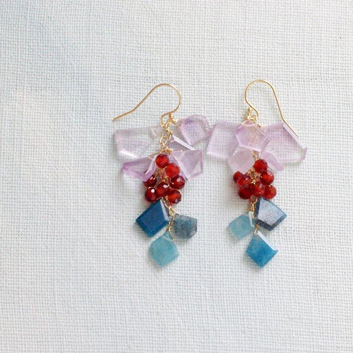短冊 : pink Amethyst, red & blue(earring)