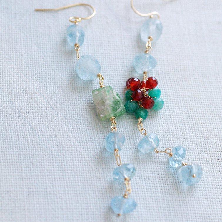 Aquamarine, Watermelon, red&green(earring)
