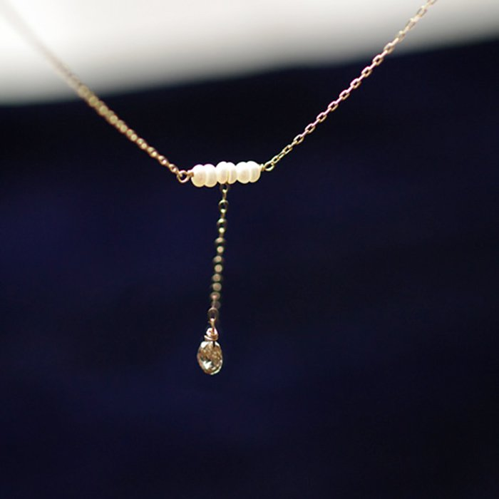 Brown Diamond & Pearl(necklace)