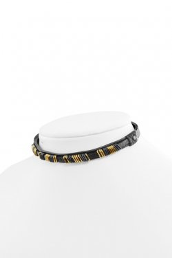 【※受注商品・12月下旬 お届け予定】BLACK TRIANGLE DESIGN - METAL BITS leather choker (gold)