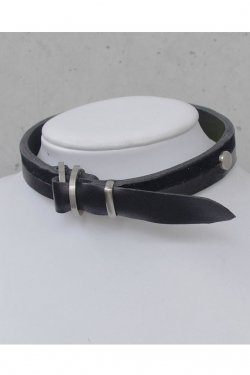 【※受注商品】BLACK TRIANGLE DESIGN - BI COLOR leather D choker (Silver × Black)