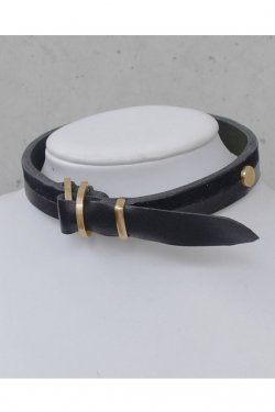 【※受注商品】BLACK TRIANGLE DESIGN - BI COLOR leather D choker (Gold × Black)