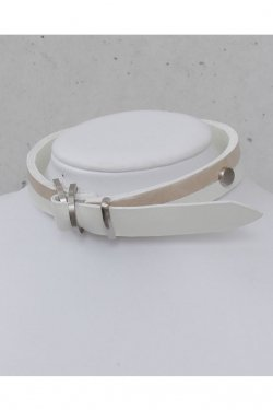 BLACK TRIANGLE DESIGN - BI COLOR leather D choker (Silver × White × Beige)