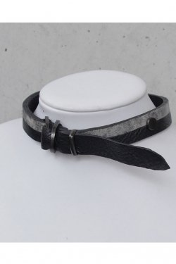 【※受注商品】BLACK TRIANGLE DESIGN - BI COLOR leather D choker (Black × Black × Grey)
