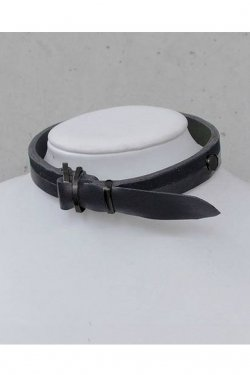 【※受注商品】BLACK TRIANGLE DESIGN - BI COLOR leather D choker (Black × Black)