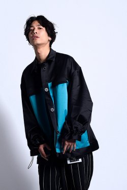 MUZE - FREE MAN OVER JACKET (BLACK-TURQUOISE)