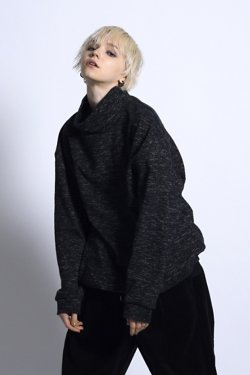 MUZE-TWEEDY KNIT SWEAT(BLACK)