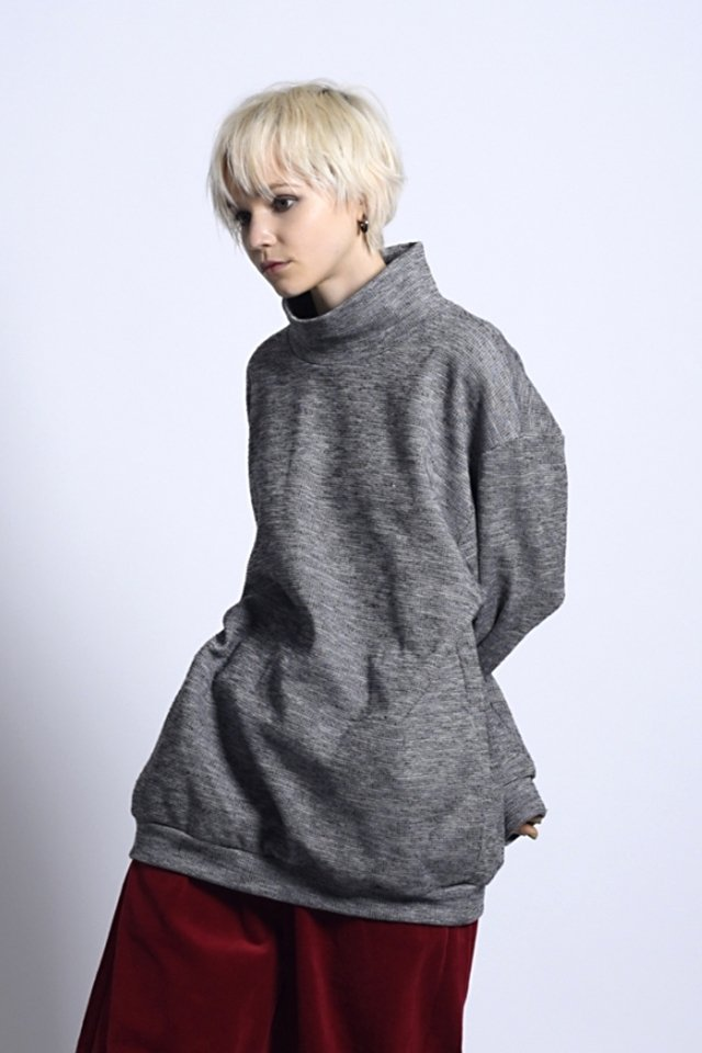 MUZE-TWEEDY KNIT SWEAT(GRAY)