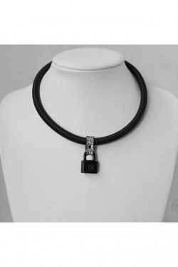 【※受注商品】BLACK TRIANGLE DESIGN - SHOCK CODE padlock necklace (BLACK×WHITE NOISE)