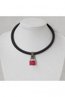 【※受注商品】BLACK TRIANGLE DESIGN - SHOCK CODE padlock necklace (BLACK×RED×GREY)