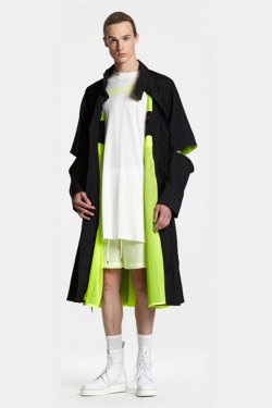ODEUR - COLLAR LONG JACKET (BLACK/NEON YELLOW)