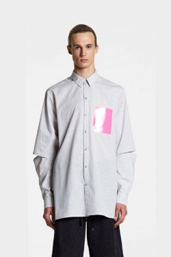 ODEUR - SLIT SHIRT (LIGHT GREY/NEON PINK)