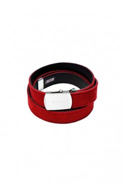 MUZE×O.K - SUEDE LONG BELT (RED×BLACK)