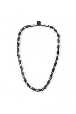 【※受注商品】BLACK TRIANGLE DESIGN - BARBED WIRE chain necklace (LEAD GRAY)