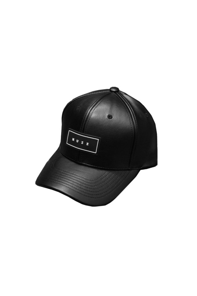MUZE - LOGO LEATHER CAP (BLK)