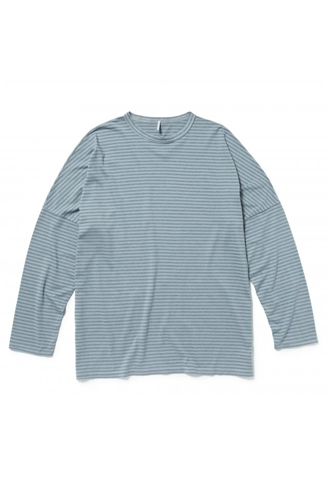 【20%OFF】ETHOS - BORDER DS LONG TEE(BLUE GRAY)