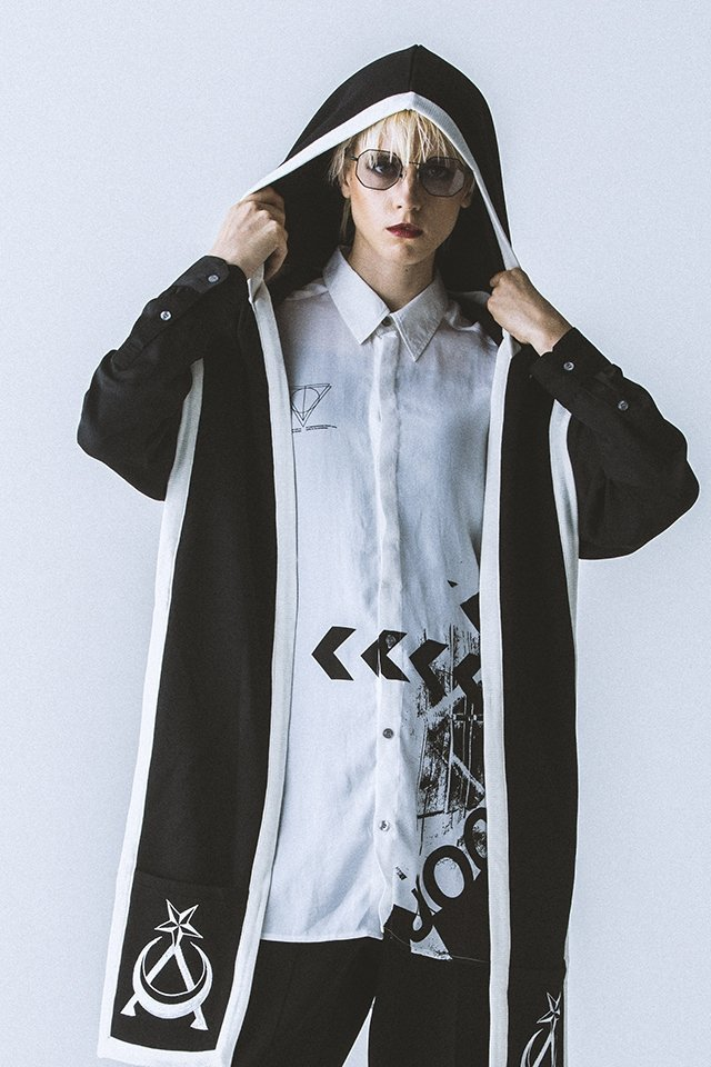 【40%OFF】PARADOX - HOODED MUFFLER (BLK-WHITE) パラドックス フードマフラー