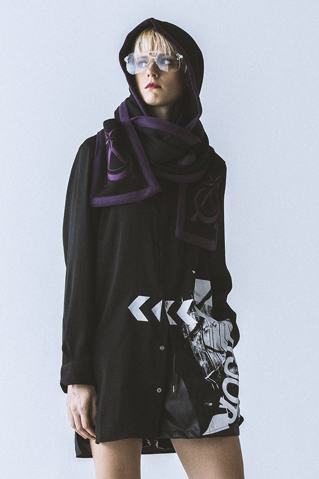 【40%OFF】PARADOX - HOODED MUFFLER (BLK-VIOLET) パラドックス フードマフラー