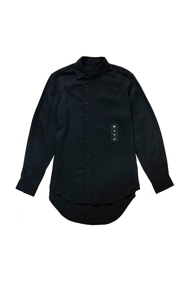 MITSUTSUKI - グラフィック斜め襟シャツ(黒)