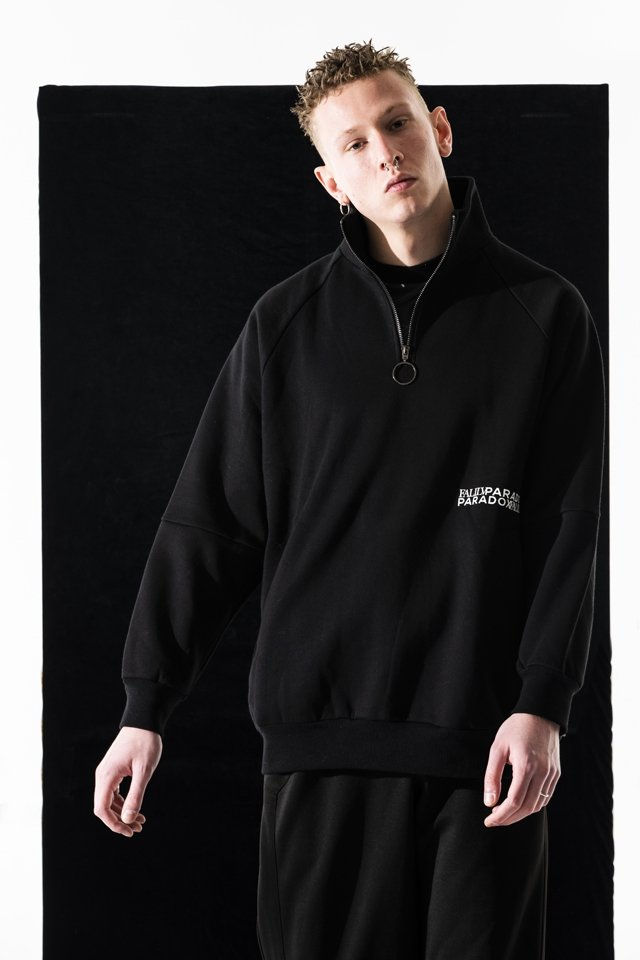 PARADOX×FALILV by FaLiLV - MOCKNECK HALF ZIP SWEAT(BLACK)