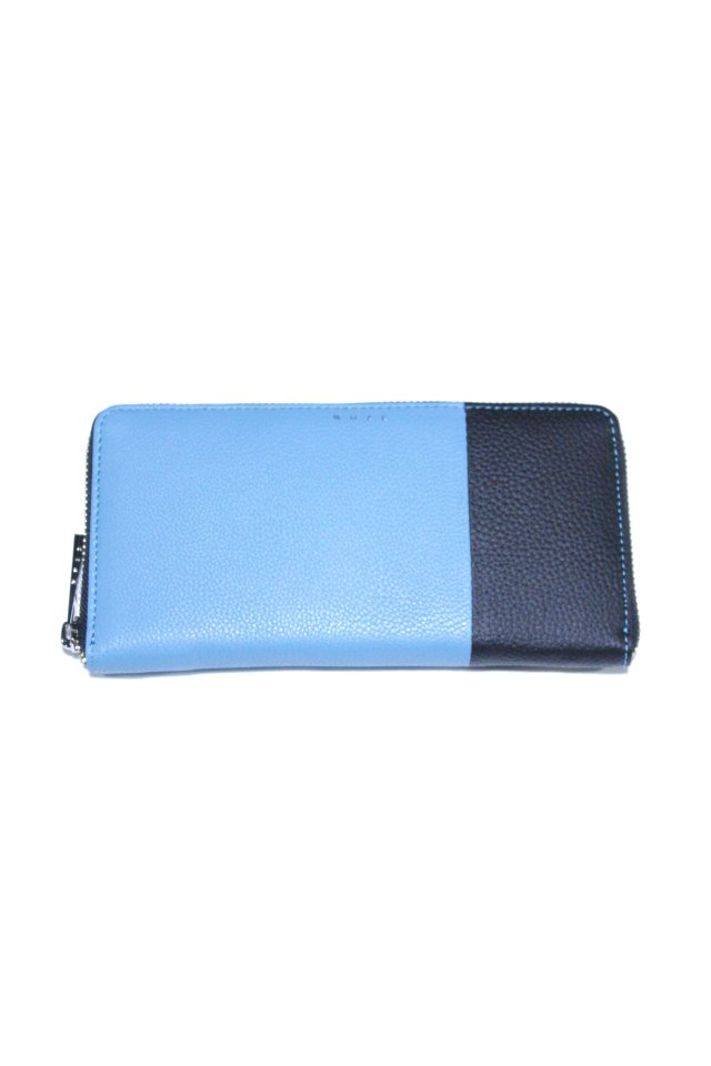 【MUZE GALLERY 限定商品】MUZE - LEATHER WALLET (BLACK × TURQUOISE) ミューズ 財布 ウォレット