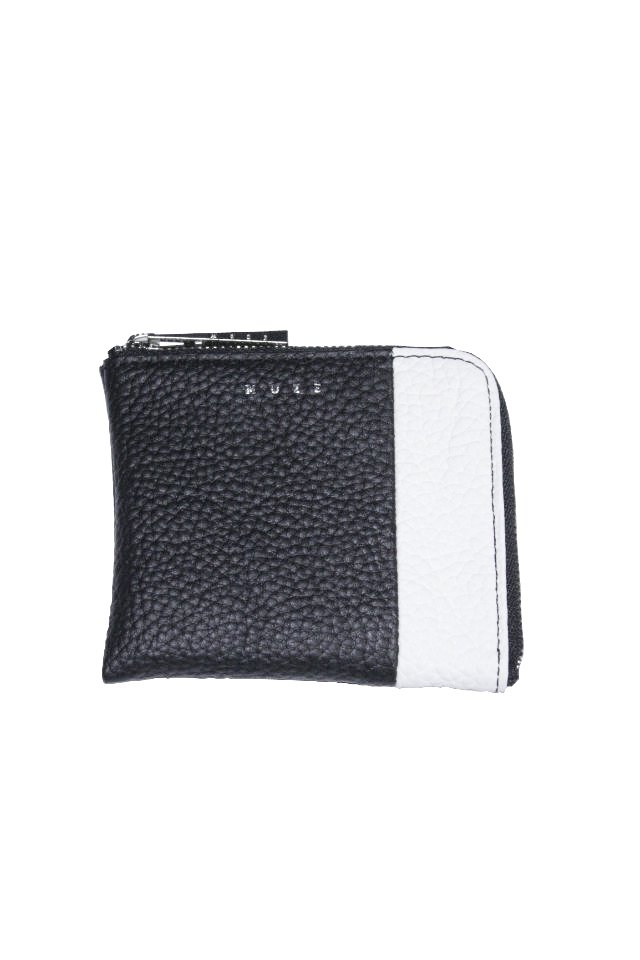 【MUZE GALLERY 限定商品】MUZE - LEATHER COIN CASE (BLACK × WHITE) ミューズ 財布  コインケース