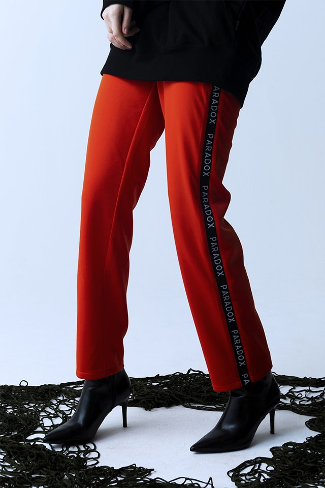【10%OFF】PARADOX - LINE JERSEY PANTS (ORANGE) パラドックス  ラインジャージパンツ