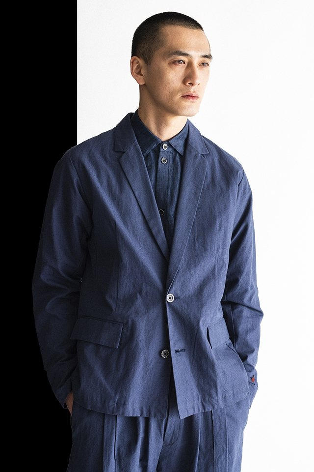 MUZE-LINEN TAILORED JACKET(BLUE) ミューズ ジャケット