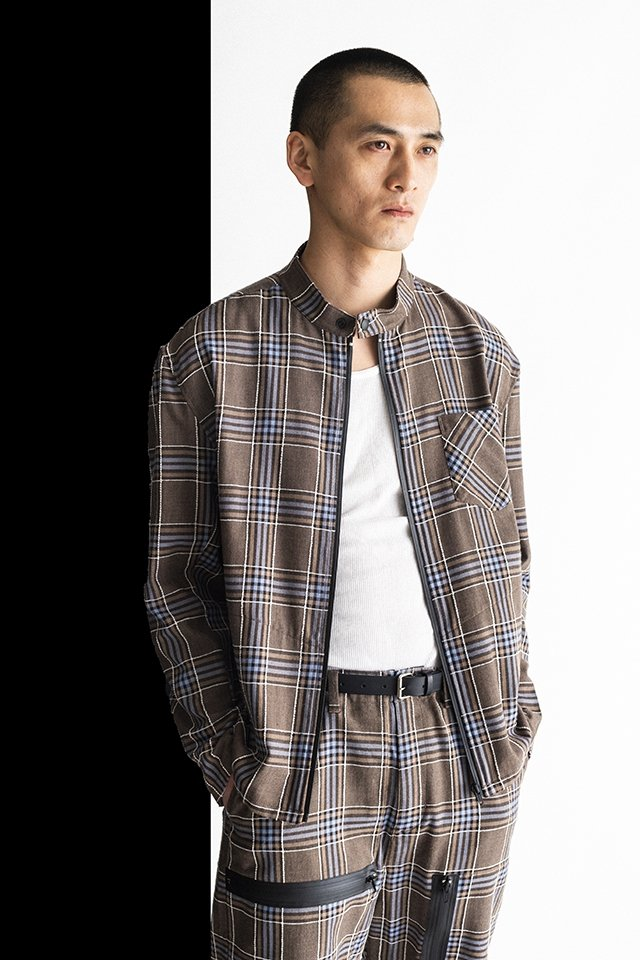 MUZE-PLAID RIDERS SHIRTS(TURQUOISE×BROWN) ミューズ ライダースシャツ
