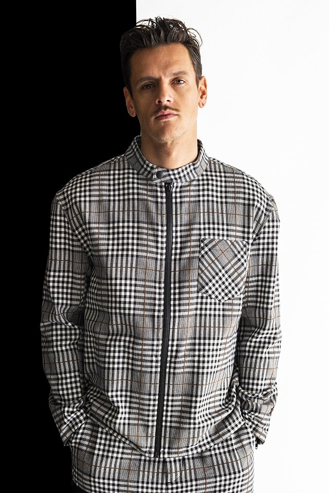 MUZE-PLAID RIDERS SHIRTS(BLACK×GRAY) ミューズ ライダースシャツ