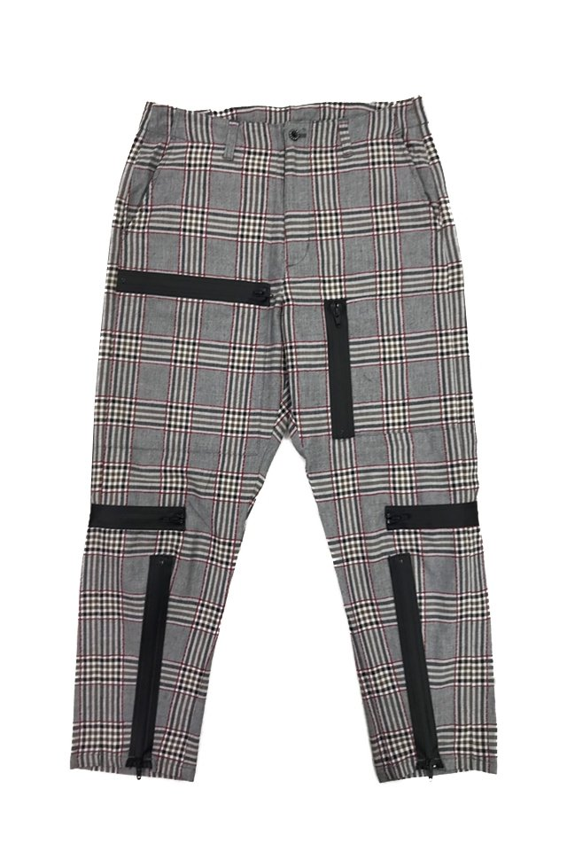 MUZE - PLAID PARACHUTE PANTS(RED×GRAY) ミューズ パンツ