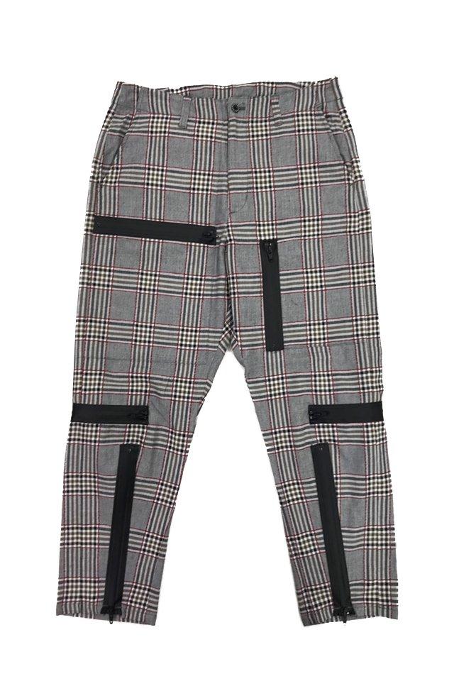 MUZE - PLAID PARACHUTE PANTS(RED×GRAY) ミューズ パンツ