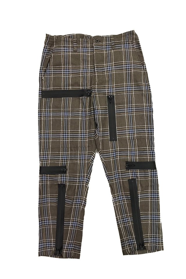 MUZE-PLAID PARACHUTE PANTS(TURQUOISE×BROWN) ミューズ パンツ
