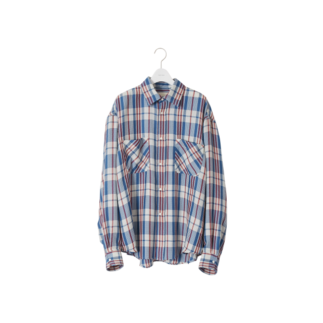 NEON SIGN  - HOMELESS CHECK SHIRT (CHINA BLUE)