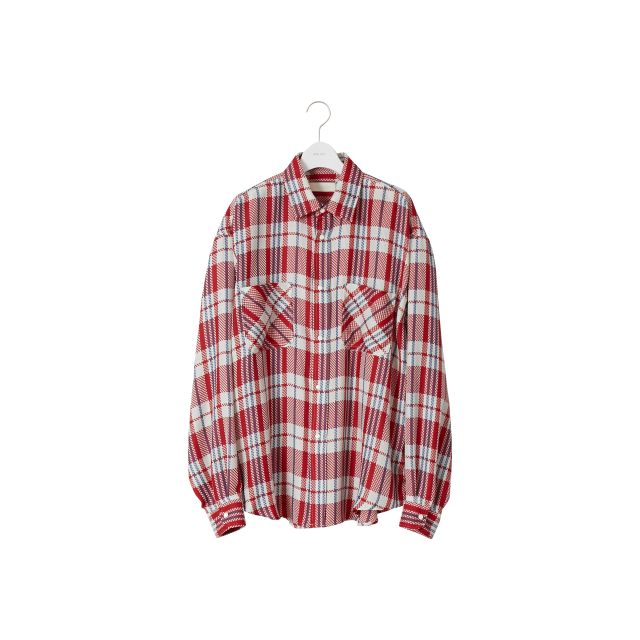 NEON SIGN  - HOMELESS CHECK SHIRT (CRAY RED)