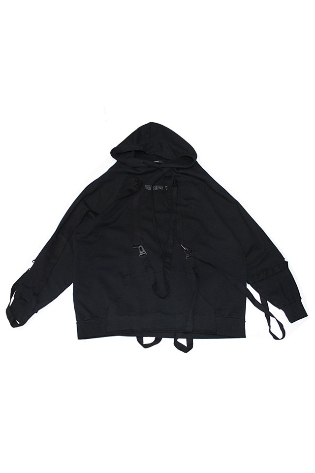 KOMAKINO - OVERSIZED RAGLAN FLEECE HOODIE BELTS (BLACK)